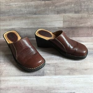 Born Leather Wedge Mules/Clogs